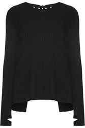 Helmut Lang Open Back Ribbed Knit Sweater Black