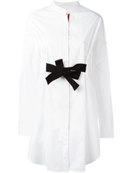 Moncler Gamme Rouge Bow Tie Fronted Shirt Dress White