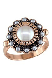 Rose Plated Sterling Silver 2 8Mm Faux Pearl Vintage Halo Ring Multi