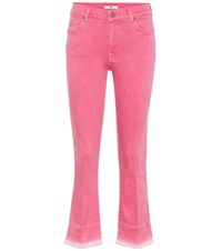 7 For All Mankind Cropped Mid Rise Bootcut Jeans Pink