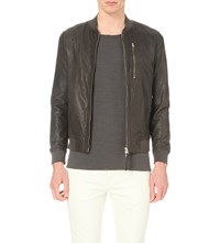 Allsaints Kino Leather Bomber Jacket Anthracite Gre