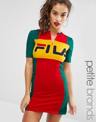 Fila Petite Motif Zip Front Mini Bodycon Dress Multi
