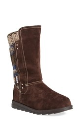 Women's Muk Luks 'Stacy' Water Resistant Sweater Knit Boot Dark Brown Faux Suede