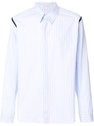 Cedric Charlier Contrast Insert Striped Shirt Blue