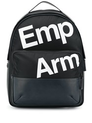 Emporio Armani Logo Printed Backpack Blue