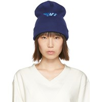 Off White Blue Embroidered Beanie