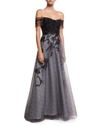 Rene Ruiz Off The Shoulder Organza Embellished Gown Black White