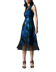 Kay Unger Metallic Floral Silk Blend Sleeveless Fit And Flare Dress Black Green Blue