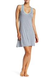 Munki Munki Heather Grey Blue Ribbed Trim Racerback Nightgown White