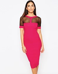 Vesper Aggy Bodycon Pencil Dress With Mesh Inserts Pink