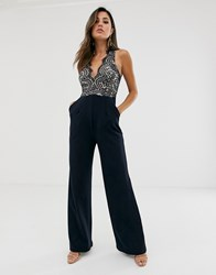 Girl In Mind V Neck Lace Top Wide Leg Jumpsuit Navy