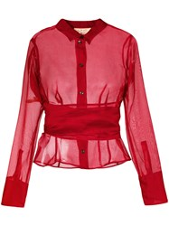 Romeo Gigli Vintage Belted Sheer Shirt Red