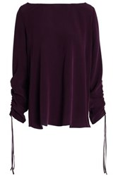 Charli Gathered Washed Silk Top Violet