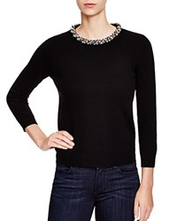 C By Bloomingdale's Jeweled Neck Cashmere Sweater Black