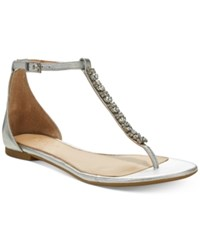 Jewel Badgley Mischka Gaby Flat Evening Sandals Created For Macy's Women's Shoes Silver Leather