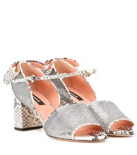 Rochas Sequin Embellished Leather Sandals Silver