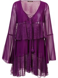 Roberto Cavalli Tiered Lace Up Dress Pink Purple