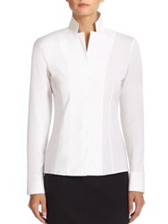 Akris Architecture Collection Stand Collar Poplin Blouse White