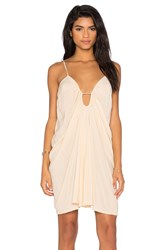 Blue Life Drape Criss Cross Back Dress Beige