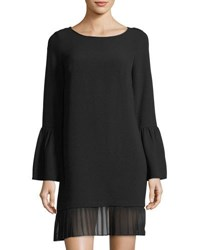 Laundry By Shelli Segal Pleated Hem Crepe Shift Dress Black