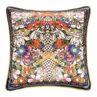 Roberto Cavalli Gold Flowers Silk Cushion 40X40cm