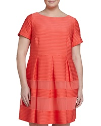 Taylor Pintucked Fit And Flare Dress Coral