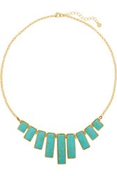 Kenneth Jay Lane Gold Tone Faux Turquoise Necklace