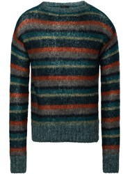 Prada Striped Mohair Sweater Green