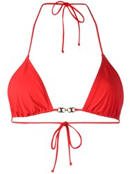 Tory Burch Gold Tone Detail Bikini Top Red