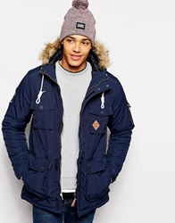 Fly 53 Parka Jacket With Faux Fur Hood Navy