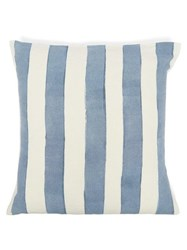 Summerill And Bishop Hand Painted Striped Linen Cushion Light Blue