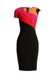 Thierry Mugler Abstract Neckline And Panel Jersey Dress Black Multi