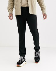 Only And Sons Slim Tapered Fit Cuffed Bottom Trousers In Black