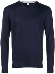 Eleventy V Neck Sweater Blue