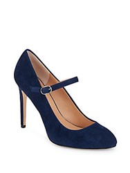 Halston Suede Leather Mary Jane Pumps Navy