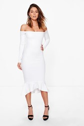Boohoo Off Shoulder Peplum Hem Midi Dress Ivory