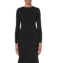 Oscar De La Renta Long Sleeved Cashmere And Silk Blend Top Black