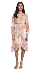 Kendall Kylie Front Wrap Duster Dress Tie Dye