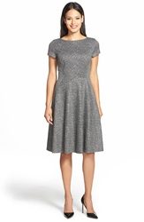 Classiques Entier Chevron Jacquard Fit And Flare Dress Black Grey Herringbone Tweed