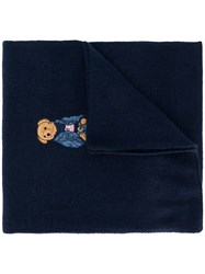Ralph Lauren Embroidered Bear Knitted Scarf Blue