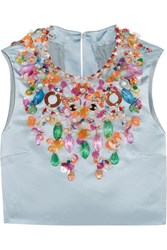 Miu Miu Cropped Embellished Silk Satin Top Sky Blue