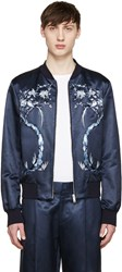Alexander Mcqueen Navy Embroidered Satin Bomber Jacket
