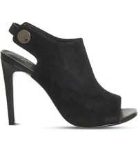 Office Napa Suede Peep Toe Shoe Boots Black Kid Suede