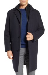 Cole Haan Wool Blend Overcoat With Knit Bib Inset Navy