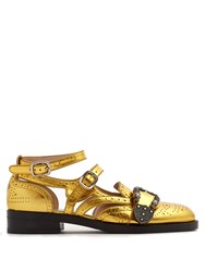 Gucci Queencore Dionysus Leather Loafers Gold