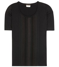 Saint Laurent Macrame Trimmed Cotton T Shirt Black