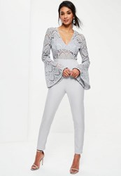 Missguided Grey Flared Sleeve Lace Top Jumpsuit