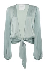 Awaveawake Silk Charmeuse Two Tie Blouse Green