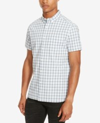 Kenneth Cole Reaction Men's Michael Large Grid Button Down Shirt Clear Water Combo