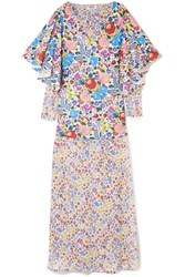 All Things Mochi Flora Printed Cotton Voile And Chiffon Maxi Dress Blue